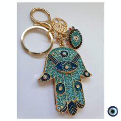 מחזיק מפתחות חמסה משובץ זהב טורקיז עין משובץ עץ החיים 1