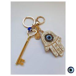 מחזיק מפתחות חמסה משובץ זהב לבן עין כחול מפתח זהב ינשוף 1