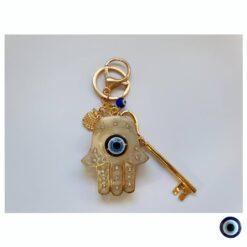 מחזיק מפתחות חמסה משובץ זהב שמנת ינשוף עין כחול מפתח זהב 1