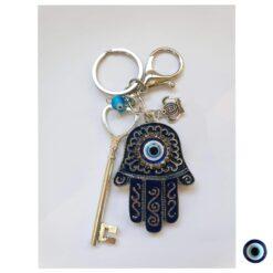 מחזיק מפתחות חמסה משובץ כסף כחול כהה עין תכלת מפתח כסף מלכות 1
