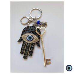 מחזיק מפתחות חמסה משובץ כסף שחור עין כחול מפתח כסף מלכות 1