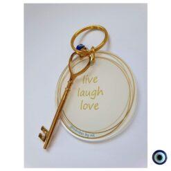 מחזיק מפתח לב live laugh love 1