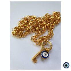 שרשרת gold vibes מפתח ושמירה ארוך 1