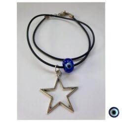 שרשרת peace vibes כוכב עין כחול קצר 1