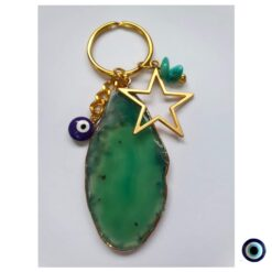 מחזיק מפתחות אבנים מהירח - אגת ירוק 1