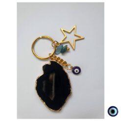 מחזיק מפתחות אבנים מהירח - אגת שחור 1