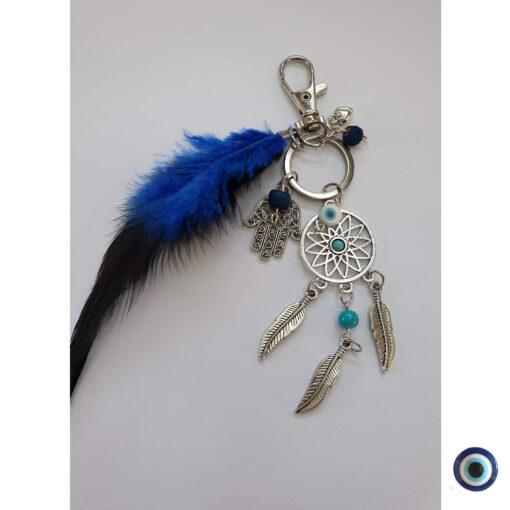 מחזיק מפתחות נוצה כחולה 1