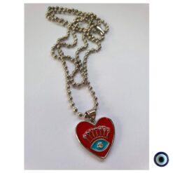 שרשרת דיסקית peace vibes collection לב אדום 1