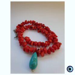 שרשרת הים האדום - שרשרת אבנים אדומות עם כח טורקיז מרוכז 1